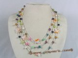 mpn105 Three strands multi-color side drill pearl necklace with crystal beads