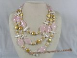 mpn106 Triple strands coin shape pearl necklace with rose quartz