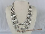 mpn109 Triple strands potato and coin shape pearl necklace with black crystal beads