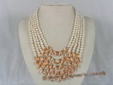 mpn111 Five rows white potato shape pearl necklace with red crystal