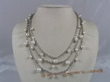 mpn116 Triple strands white potato pearl chain layer necklace