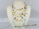mpn118 multi color nugget seed pearl floating illusion necklace