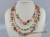 mpn119 Fanshion pearl necklace made of multi-color nugget and potato shape pearl
