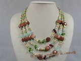 mpn121 5-6mm multi colour nugget pearl with crystal beads triple necklace