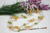 mpn122 two strands Fresh water pearl with oval gemstone beads necklace