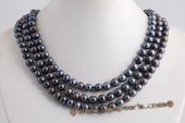 mpn124 three strands 8-9mm black potato pearl necklace with amber clasp