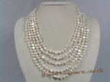 mpn127 five strands 6-7mm white nugget pearls necklace