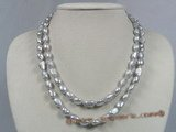 mpn128 double rows grey freshwater nugget pearl necklace with lobster clasp