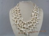 mpn131 Triple strands white blister pearl necklace with adjustable clasp