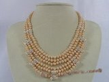 mpn135 luxury pink button pearl layer necklace in wholesale