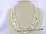 mpn138 Triple strands white blister pearl necklace with adjustable clasp