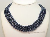 mpn139 Triple strands blue cultured pearl necklace in wholesale