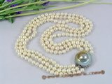 mpn142 Hand knotted 6-7mm white off-round pearl Triple necklace wholesale