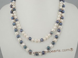 mpn150 Double rows potato pearl necklace in white and black design