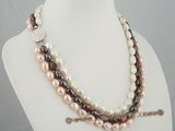 mpn155 Gorgeous brown and pink and white necklace triple necklace in wholesale