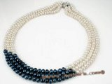 mpn160 6-7mm white and dark blue freshwater button pearl necklace on sale in triple strand