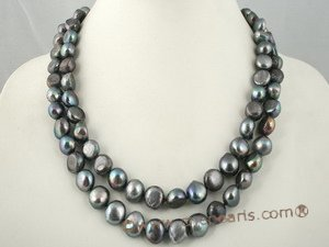 mpn161 Double strand large size baroque nugget necklace in black