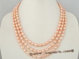 mpn162 6-7mm pink freshwater rice pearl necklace in tirple strand