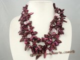 mpn170 Triple strands wine red blister pearl with baroque crystal layer necklace factory price on sale