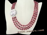 mpn178 6.5-7.5mm wine red freshwater rice pearl necklace in tirple strand