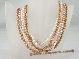 mpn181 Five rows Colorful freshwater nugget pearl spring costume necklace