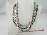 mpn182 Five rows Spring colors freshwater nugget pearl layer costume necklace