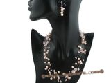 mpn195 Fashion Illusion Pink potato pearl floating necklace with rose quartz beads