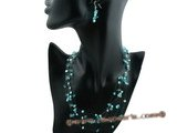 mpn196 Handmade lovely blue nugget pearl&crystal beads floating necklace in wholesale