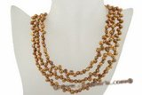 mpn201 Elegant 6-7mm coffee nugget pearl triple strand costume necklace