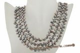 mpn202 Triple strands 6-7mm black cultured nugget pearl costume necklace in wholesale