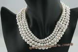 mpn206 Four rows gradual potato pearl costume choker necklace