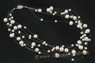 MPN217 Lovely white freshwater potato pearl floating illusion necklace