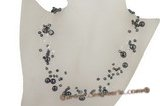 MPN219 Austria crystal with black nugget seed pearls illusion necklace on sale