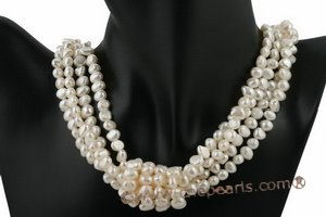 mpn220 Four rows baroque nugget pearl costume layer necklace