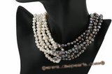 mpn222 White and Grey nugget pearl twisted costume necklace
