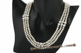 mpn225 Elegant 6-7mm button pearl triple strand bridal necklace