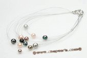 Mpn285 Beatiful Mix Color& Size Round Shell Pearl Multi-Strands Necklace