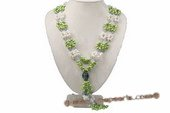 Mpn286 Green Side-drilled Pearl and Crystal Layer Opeara Necklace