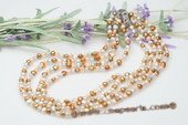 mpn290 Four-strands Nugget Pearl Layer Necklace in blend of color
