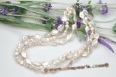 mpn292 Elegant Triple Strands Nature Coin Pearl& Austria Crystal Necklace