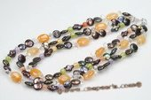 Mpn297 Three Strands Black Coin Pearl and Jasper Adjustable Layer Necklace