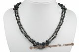 mpn304 Freshwater Black  Multi-Strand Pearl 4-5mm & 8-9mm  Necklace in Wholesale