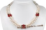 mpn309 Cultured Pearl Two-Strand Necklace With Sterling Silver Clasp