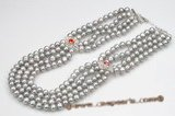 mpn311 Stylish multi-strand grey potato pearl necklace with Rhinestone Encrusted Medallion