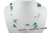 mpn313 8-9mm white potato pearl necklace made with green turquoise beads