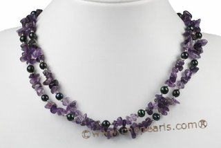 mpn314 two strand freshwater pearl and amethst beads necklace