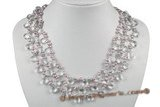 mpn316 Stylish multi-strand 4-5mm light purple side drill pearl necklace