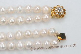 mpn319 White two Strand Pearl Necklace large potato pearls and rice pearls necklace