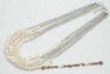 mpn320 four strand 6-7mm white freshwater nugget pearl necklace
