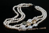 mpn327 Elegant Hand knotted Potato Pearl and Mass Agate Layer Necklace